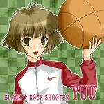 basketball black_rock_shooter blunt_bangs bob_cut brown_eyes brown_hair checkered koutari_yuu nike raglan_sleeves shigunyu short_hair smile