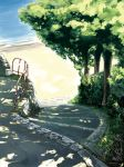 grass koban_(times) nature no_humans ocean path railing scenery shade stairs sunlight tree tree_shade