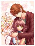 1girl braid brown_hair couple flower fujimoto_kiyokazu glasses green_eyes hanato_kobato height_difference holding_hands kaze-hime kobato. long_hair open_mouth ponytail twin_braids yellow_eyes