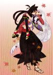 carrying height_difference japanese_clothes katanagatari leaf long_hair maple_leaf princess_carry red_eyes sandals thigh-highs thighhighs toeless_socks togame very_long_hair white_hair yasuri_shichika
