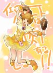 :d boned_meat brown_eyes brown_hair cosplay cure_pine cure_pine_(cosplay) food fresh_precure! highres magical_girl meat nishiuri_warito open_mouth persona persona_4 precure satonaka_chie smile solo