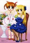 :d absurdres bare_shoulders blonde_hair blue_eyes bouquet bow brown_hair chair dress elbow_gloves fate_testarossa flower gloves hair_bow highres jewelry long_hair mahou_shoujo_lyrical_nanoha mahou_shoujo_lyrical_nanoha_the_movie_1st multiple_girls necklace okuda_yasuhiro open_mouth pantyhose red_eyes shoes short_hair short_twintails sitting smile takamachi_nanoha twintails very_long_hair