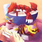 bowl chopsticks cup dragon_quest giratina groudon gulpin hoimi_slime kabocha_torute no_humans pokemon pokemon_(creature) pokemon_(game) pokemon_dppt pokemon_rse pun rice sweat tears water
