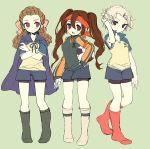 bike_shorts brown_hair chiku-wa endou_mamoru genderswap gouenji_shuuya hairlocs headband inazuma_eleven kidou_yuuto moriyama_shijimi raglan_sleeves short_hair soccer_uniform socks twintails