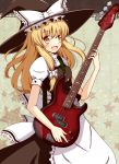 :d absurdres aikawa_ryou bass_guitar blonde_hair guitar hat highres instrument kirisame_marisa long_hair open_mouth smile solo touhou witch_hat yellow_eyes
