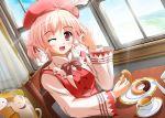 beret blonde_hair blush cat curtains doughnut hat kareru_(karluv) karluv open_mouth pink_eyes pink_hair short_hair shukufuku_no_campanella smile tango_(shukufuku_no_campanella) window wink