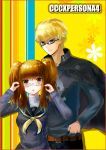 1boy 1girl bespectacled blonde_hair brown_eyes brown_hair cosplay fate/extra_ccc fate_(series) female_protagonist_(fate/extra) gilgamesh glasses kujikawa_rise kujikawa_rise_(cosplay) look-alike mirialion persona persona_4 red_eyes seiyuu_connection seki_tomokazu tatsumi_kanji tatsumi_kanji_(cosplay) twintails