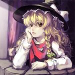 arm_support blonde_hair braid brown_eyes chin_rest face hat kirisame_marisa lips long_sleeves messy_hair no_lineart sankusa scarf side_braid solo touhou wavy_hair witch_hat