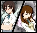brown_hair crossed_arms extra face glasses ikari_manatsu k-on! long_hair manabe_nodoka red-framed_glasses school_uniform semi-rimless_glasses short_hair twintails under-rim_glasses vs wakaouji_ichigo zoom_layer