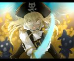 bad_id bai_lao_shu black_legwear black_pantyhose blonde_hair buckle epaulettes glasses hat pantyhose perrine_h_clostermann pirate pirate_hat strike_witches sword weapon yellow_eyes
