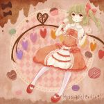 1girl alternate_costume blonde_hair cookie cupcake dress flandre_scarlet food heart inazuma11a no_hat no_headwear pantyhose pink_background red_eyes ribbon short_hair side_ponytail solo touhou valentine white_legwear wings