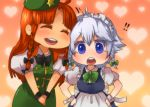 artist_request chibi hat heart hong_meiling izayoi_sakuya lgw7 ribbon short_hair touhou