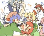 /\/\/\ :d :o apron baby blonde_hair blue_hair blush_stickers book braid camera drooling face_painting flandre_scarlet hat head_wings hong_meiling izayoi_sakuya koakuma koyama_shigeru maid no_eyes nose_bubble open_mouth patchouli_knowledge red_eyes red_hair remilia_scarlet short_hair side_ponytail silver_hair simple_background sleeping smile touhou wings young