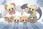 angel_wings apron bat_wings blonde_hair bow chibi crossed_arms elly everyone gengetsu green_hair hair_bow hat kazami_yuuka kazami_yuuka_(pc-98) kurumi_(touhou) lotus_land_story mugetsu mugetsu_(touhou) multiple_girls orange_(touhou) plaid_pants plaid_vest ribbon saku_(osake_love) solid_circle_eyes sun_hat touhou touhou_(pc-98) wings