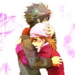 brown_hair coat fur_hat hand_on_head hat hug kamijou_touma misaka_mikoto tears to_aru_majutsu_no_index winter_clothes yu@genkoochu(5tsukino)