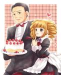 berune black_hair blonde_hair cake drill_hair food formal gouda_toshirou maekawa_suu maid suit umineko_no_naku_koro_ni