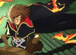 blood brown_hair cape cuts eyepatch fire flame gloves hair_over_one_eye harlock harlock_saga highres injury kujira_gunsou looking_up scar ship's_wheel ship's_wheel skull_and_crossbones solo uchuu_kaizoku_captain_harlock wind