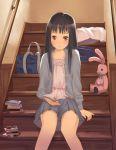book brown_eyes long_hair original reading school_bag sitting skirt smile solo stairs stuffed_animal stuffed_bunny stuffed_rabbit stuffed_toy yamamoto_shima