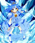 1girl aoki_reika bike_shorts blue_eyes blue_hair cure_beauty hair_tubes head_wings ice ice_sword long_hair magical_girl precure princess_form_(smile_precure!) smile smile_precure! solo sword tiara wara_(warapro) weapon