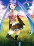 aqua_eyes aqua_hair bad_id blush butterfly detached_sleeves hatsune_miku headphones headset highres long_hair minami_haruya necktie rainbow skirt smile solo thigh-highs thighhighs twintails very_long_hair vocaloid zettai_ryouiki
