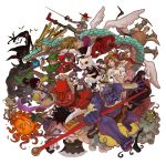 aladdin_(character) alice_in_wonderland bat big_bad_wolf big_bad_wolf_(grimm) cinderella crossover dracula dragon folklore genie_(aladdin) grimm's_fairy_tales highres journey_to_the_west kaguya kaguya_hime kintarou kintoun lack little_mermaid little_red_riding_hood little_red_riding_hood_(character) little_red_riding_hood_(grimm) mad_hatter mermaid momotarou_(character) momotarou_densetsu monster_girl oni otohime peter_pan peter_pan_(character) pinocchio pinocchio_(character) puss_in_boots puss_in_boots_(character) snow_white snow_white_(grimm) snow_white_and_the_seven_dwarfs sun sun_wukong the_little_mermaid tinkerbell turtle vampire white_rabbit wolf