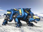 arctic armor blitz_panther cannon gun ice mecha no_humans original panther scenery snow tundra weapon zoids