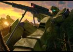 bird camouflage forest gm_sniper_ii gun gundam mecha murase_rintarou nature no_humans rifle sitting sniper_rifle solo sunset weapon