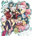 apron black_hair blue_hair buneary cheerleader closed_eyes cup diamond dress frills hainegom hair_ornament hairclip hat highres hikari_(pokemon) hikari_(pokemon)_(remake) holding holding_poke_ball jewelry kneehighs maid medal multiple_persona open_mouth pearl piplup platinum_berlitz poke_ball pokemon pokemon_(anime) pokemon_(game) pokemon_dppt pokemon_special poketch pom_poms ring scarf skirt socks title_drop togekiss turtwig v watch wink wristwatch yawning