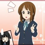 2girls akiyama_mio alternate_hairstyle black_hair blazer brown_eyes brown_hair face hime_cut hirasawa_yui ikari_manatsu k-on! long_hair multiple_girls open_mouth ribbon school_uniform short_hair sidelocks sweatdrop v
