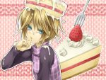 blonde_hair blue_eyes cake cream food fork fruit madotsuki sexually_suggestive strawberry ueno_tsuki urotsuki yume_2kki yume_nikki