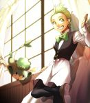 bowtie dent_(pokemon) green_eyes green_hair grin gym_leader hirococo hirococo_(hakka) indoors open_mouth pansage pokemon pokemon_(game) pokemon_black_and_white pokemon_bw smile swinging window