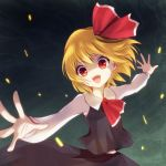 >:) :d blonde_hair fangs hair_ribbon nunucco open_mouth outstretched_arms outstretched_hand red_eyes ribbon rumia short_hair slit_pupils smile solo spread_arms touhou