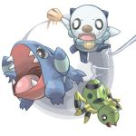gible iyoda_mato no_humans o_o oshawott pokemon pokemon_(creature) shell spinarak
