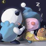 crescent_moon diglett freckles grin iyoda_mato marker mime_jr. moon no_humans oshawott pokemon pokemon_(creature) scared sleeping smile weedle z