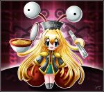 1girl artist_request blonde_hair chibi chopsticks epaulettes flying_spaghetti_monster food long_hair meatball personification spaghetti tagme tentacle_hair