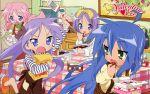 blue_hair food glasses green_eyes hiiragi_kagami hiiragi_tsukasa izumi_konata lucky_star pink_hair purple_hair takara_miyuki valentine