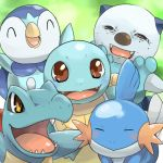 arms_up brown_eyes closed_eyes everyone fangs freckles happy iyoda_mato mudkip no_humans oshawott piplup pokemon pokemon_(creature) squirtle totodile troll_face yellow_eyes