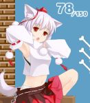animal_ears armpits bone detached_sleeves hat highres inubashiri_momiji panties pixiv red_eyes short_hair silver_hair solo tail tokin_hat touhou tucana underwear wolf_ears wolf_tail