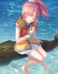 1girl closed_eyes eiyuu_densetsu fingerless_gloves gloves moai_(aoh) ocean pink_hair sitting smile solo tree_branch umi_no_oriuta una_(eiyuu_densetsu) white_gloves