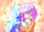blue_hair blush cirno closed_eyes heart hug letty_whiterock long_hair purple_hair touhou yurume_atsushi
