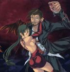 1girl arm_around_neck ass beard black_eyes black_hair blood breasts bridal_gauntlets brown_hair checkered checkered_floor couple cup dress elbow_gloves facial_hair gloves green_eyes guilty_gear highres hug long_hair looking_back manly monocle mustache nyami open-back_dress open_back pipe red_legwear red_thighhighs sharon_(guilty_gear) sideboob slayer slayer_(guilty_gear) smile thigh-highs thighhighs vampire wine_glass wings