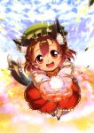 brown_hair cat_ears cat_tail chen earrings flower_field foreshortening glowing happy hat highres im_(badmasa) jewelry looking_at_viewer magic multiple_tails nail_polish open_mouth outstretched_hand petals red_eyes short_hair smile solo tail tareme touhou
