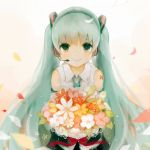 aqua_hair bouquet detached_sleeves flower green_eyes hatsune_miku headset long_hair looking_at_viewer mikanniro necktie petals smile solo twintails very_long_hair vocaloid