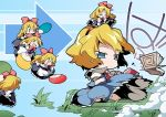 alice_margatroid angry blonde_hair blue_eyes capelet chibi doll fan nyuusankin shanghai shanghai_doll touhou translation_request wind