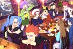 akane_(pokemon) alternate_costume blue_hair breasts card cards cleavage dragonair dragonair_(cameo) dragonite dragonite_(cameo) eevee eevee_(cameo) food formal gold_(pokemon) gold_(pokemon)_(remake) hat hayato_(pokemon) highres holding holding_card ibuki_(pokemon) kotone_(pokemon) lanturn lanturn_(cameo) lying_card matsuba_(pokemon) microphone mikan_(pokemon) okitune-sama pikachu pinky_out playing_card playing_cards playing_games pocky poke_ball poke_ball_theme pokemon pokemon_(game) pokemon_gsc pokemon_heartgold_and_soulsilver thighhighs tsukushi_(pokemon) umbreon umbreon_(cameo) v vulpix vulpix_(cameo) wataru_(pokemon) yanagi_(pokemon) yanagi_(pokemon)_(remake)