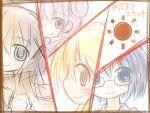 blush brown_hair glasses hair_ornament hairclip hidamari_sketch hiro miyako pink_hair sae smile yuno yurume_atsushi