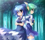 2girls back-to-back blue_eyes blue_hair bow cirno crossed_arms daiyousei dress forest green_eyes green_hair hair_bow multiple_girls nature short_hair side_ponytail sunbeam sunlight takeponi thigh-highs thighhighs touhou white_legwear white_thighhighs wings zettai_ryouiki