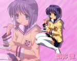 clannad fujibayashi_ryou hair_ribbon purple_hair ribbon school_uniform solo thighhighs wallpaper zoom_layer
