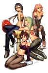arm_support bare_shoulders belt between_legs boots breasts capcom casual chain character_request choker cleavage contemporary crop_top detached_sleeves final_fight hand_between_legs highres jeans justice_gakuen kasugano_sakura kazama_akira kneeling long_hair looking_back midriff morrigan_aensland multiple_girls poison_(final_fight) rival_schools saejin_oh scarf shoes sitting sneakers street_fighter tattoo vampire_(game) wariza