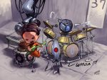 band barefoot cake chell chibi drum drum_set food glados guitar instrument jumping keyboard_(instrument) microphone personality_core portal portal_2 saejin_oh spoilers triangle_(instrument) turret_(portal) weighted_companion_cube wheatley